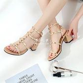 韓版百搭時尚鉚釘鏤空露趾綁帶羅馬粗跟涼鞋女高跟鞋『伊莎公主』