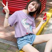 ins超火港風紫色東大門原宿ulzzang寬松大碼短袖T恤女班服定制潮