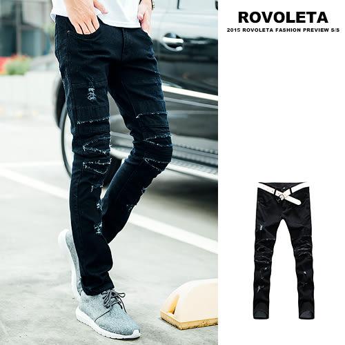 刀割破壞造型牛仔褲【SB-3950】(ROVOLETA)