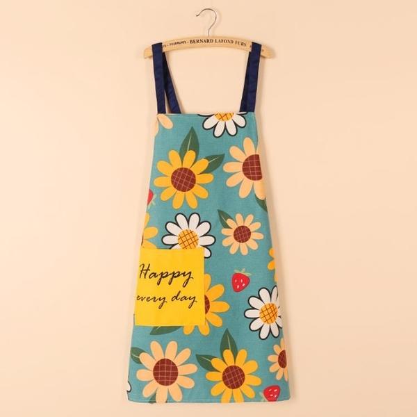 圍裙 韓式純棉大人廚房餐廳咖啡廳花店圍裙棉麻罩衣耐臟復古工作服圍衣  美物 99免運