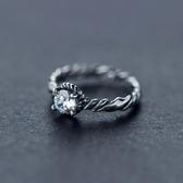 戒指 925純銀鑲鑽-亮眼編織生日情人節禮物女開口戒73dt737【時尚巴黎】