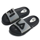 FILA 童鞋 拖鞋 黑白 立體LOGO 防水 膠拖 中童 (布魯克林) 2S428V010
