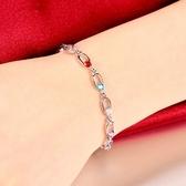手鍊 925純銀水晶-大方簡約生日聖誕節交換禮物女手環2色73fg33【時尚巴黎】