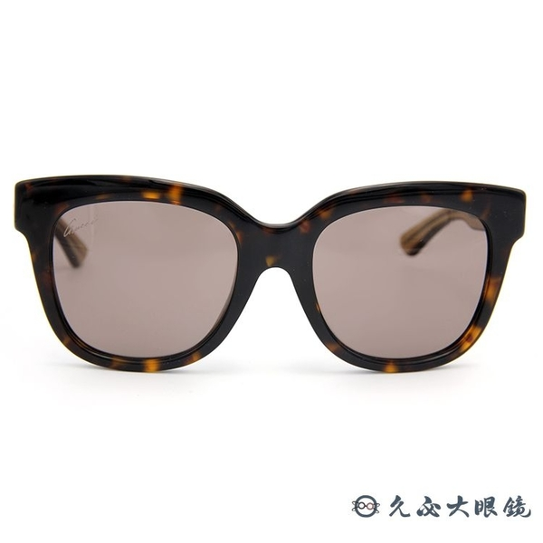 GUCCI 墨鏡 GG3756FS YU8CO (玳瑁-透棕) 經典框型 太陽眼鏡 久必大眼鏡