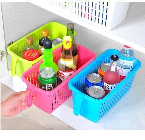 手提塑料收納籃桌面收納盒 帶手柄廚房置物籃冰箱收納筐