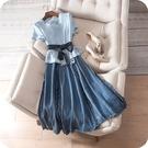 洋裝-短袖撞色拼接繫帶優雅連身裙73sz...