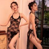 情趣內衣女性感騷透視蕾絲開叉長裙吊帶睡衣制服誘惑大碼激情套裝