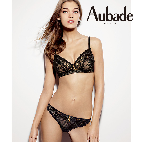 Aubade-藝術之吻B蕾絲有襯內衣(黑膚)Y6