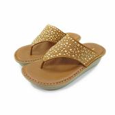 MICHELLE PARK 閃耀印象 水鑽厚底氣墊夾趾涼鞋-棕色