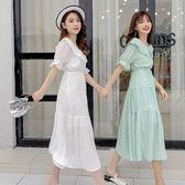 [百姓公館] 連身裙連身裙小清新娃娃領喇叭袖修身裙子女