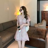 小洋裝 連身裙女裝夏季韓版小清新V領連身裙法式溫柔減齡碎花裙T624快時尚