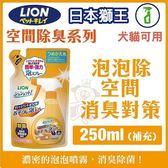 *KING WANG*日本LION獅王-空間除臭系列《泡泡除-空間消臭對策-補充包》250ML