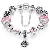 手鍊 潘朵拉元素串珠-琉璃925純銀飾品花朵鑲鑽愛心女配件4色72l210【時尚巴黎】