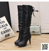 秋冬細跟長筒靴黑色女靴子高筒靴高跟膝上靴防水台皮靴馬靴 聖誕慶免運