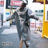 藍色巴黎 ★ 韓系 秋冬連帽開襟排釦刺繡字母長版外套   棒球外套  風衣外套【28598】
