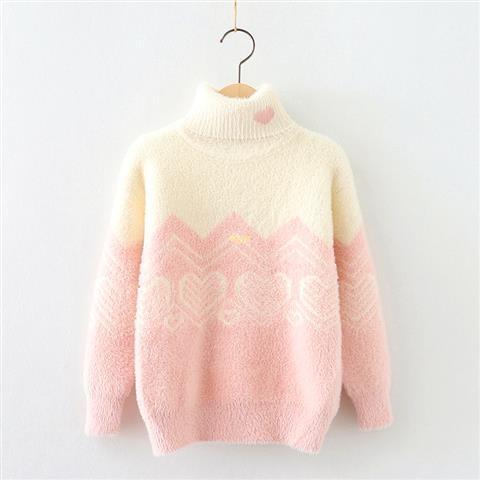 女童毛衣套頭水貂絨加厚兒童毛線織秋冬裝新款高領女孩寶寶針織衫 現貨快出