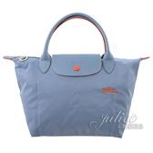 茱麗葉精品【全新現貨】Longchamp COLLECTION 刺繡LOGO折疊短揹帶肩提包.淺藍 #1621