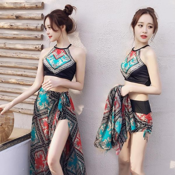 618全館8.8折 夏季泳衣女三件套分體裙式保守顯瘦遮肚性感民族風泡溫泉