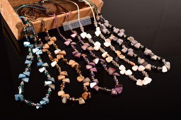 新款 波西米亞多色貝殼 手工長款項鏈 時尚 女飾品 經典