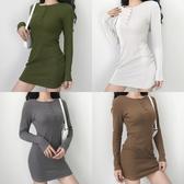 針織洋裝 歐美ins黑色紐扣羅紋針織圓領性感洋裝女修身顯瘦長袖包臀裙【【八折搶購】】