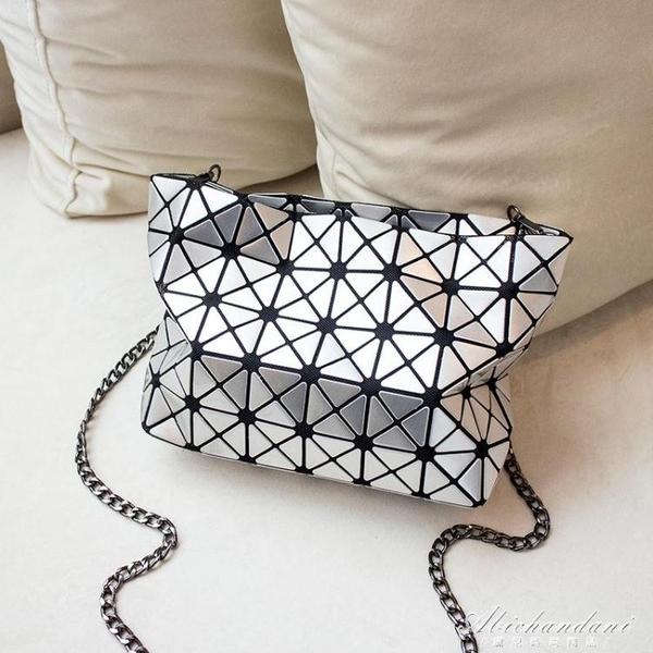 新款百變幾何摺疊女包小菱格錬條包側背斜背包 黛尼時尚精品