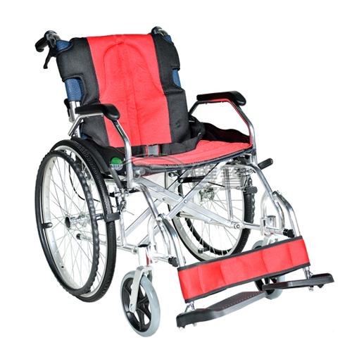 【贈好禮】頤辰 鋁合金輪椅 YC-600 (大輪) 抬腳功能 方便收納 (紅) 機械式輪椅
