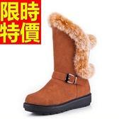 中筒雪靴-真皮兔毛防滑防水皮革女靴子3色62p43[巴黎精品]
