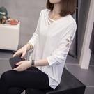 中/大尺碼長袖上衣 大碼長袖t恤女新款秋季內搭白色V領上衣黑色ins顯瘦打底衫