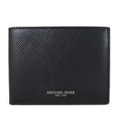 MICHAEL KORS HARRISON男用防刮皮革簡易式短夾(黑色)-36U9LHRF5L