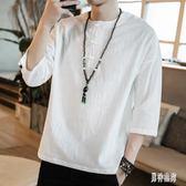 中國風男士棉麻短袖T恤上衣 夏男裝亞麻大碼寬鬆中袖七分袖半截袖唐裝 BT528『男神港灣』