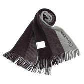 Calvin Klein CK新款刺繡logo拼色針織圍巾(灰黑色)103216-3