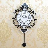 掛鐘 現代裝飾歐式羅馬靜音搖擺掛鐘創意鐘錶客廳臥室掛錶個性鐘 DF