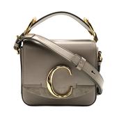 【台中米蘭站】全新品 CHLOE  C Bag 滑面牛皮拚麂皮手提斜背二用包-mini (灰)