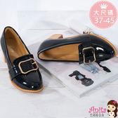 艾妮塔公主。中大尺碼女鞋。英倫學院風金釦粗跟鞋 小皮鞋 單鞋 共2色。(D636) 37~45碼