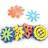 【BlueCat】兒童彩繪雙面花朵海綿印章 (4入裝) 塗鴉彩繪