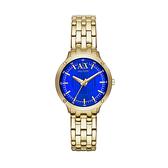 【Armani Exchange】A│X 義式線條質感時尚鋼帶腕錶-亮眼藍/AX5418/台灣總代理公司貨享兩年保固