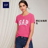 Gap女裝 Logo系列印花短袖T恤 355309-漿紅玫瑰果色