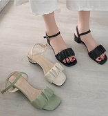 涼鞋-2021年夏季新款時尚百搭一字扣帶時裝涼鞋女仙女風中跟粗跟高跟鞋