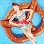 【超取399免運】巧克力點點蝴蝶餅乾造型泳圈-150公分 成人充氣浮圈救生圈加大加厚泳圈