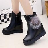 內增高短筒靴子女短靴2018冬季新款加厚加絨保暖毛毛雪地靴女鞋子 挪威森林