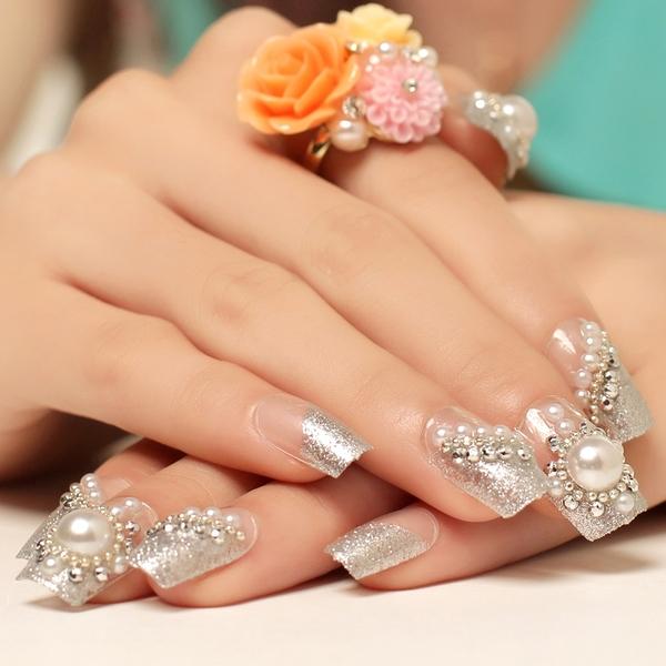 光療感指甲油美甲成品假指甲貼片甲片 銀色法式珍珠手指甲貼片 新娘美甲背膠配外套皮衣風衣