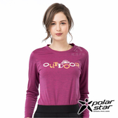 PolarStar 女 麻花吸排圓領長袖衣『葡萄紫』 P19258 T恤 上衣 女版 休閒 戶外 登山 印花