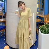 漂亮小媽咪 方領 洋裝 【D5132】 韓系 短袖 長裙 純色 韓 質感 孕婦裝 長洋裝