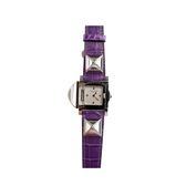 【HERMES】亮面鱷魚/小鑽鉚釘翻蓋手錶Medor GM(紫色) HE79000009