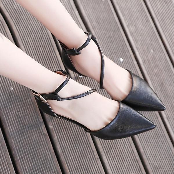 售完即止-高跟 春季細跟高跟鞋單鞋韓版百搭尖頭交叉綁帶女鞋包頭涼鞋庫存清出(10-14S)