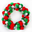【摩達客 】絨毛球聖誕花圈(紅白綠三色系)