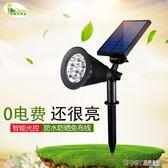 太陽能燈戶外庭院燈家用超亮LED防水射燈花園別墅草坪燈插地路燈igo 溫暖享家