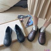 秋季新款加絨套腳一腳蹬啞光圓頭中跟粗跟低幫鞋小皮鞋女【公主日記】