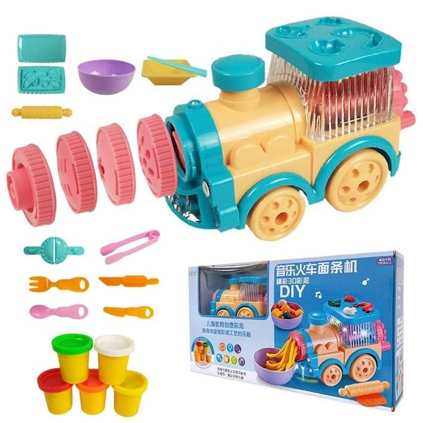 火車麵條機 發光音樂 麵條製作機彩泥組 X9914/一盒入(促350) 火車頭麵條機 創意DIY黏土-生