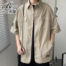 男襯衫 硬挺工裝風日系口袋襯衫外套【NLDD-C27】